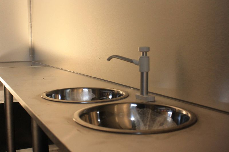 Custom Trailer Extras Two Stainless Sinks and Hand Whale Pump