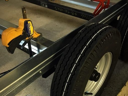 Trailer wheels and brakes during construction process